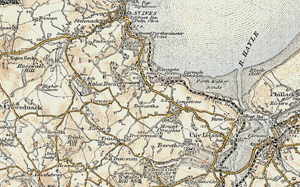 Old map of Carbis Bay in 1900
