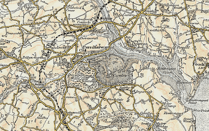 Old map of Carclew in 1900