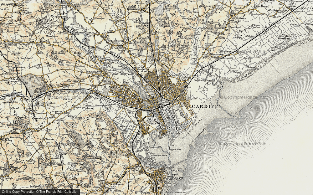 Old Map of Cardiff, 1899-1900 in 1899-1900