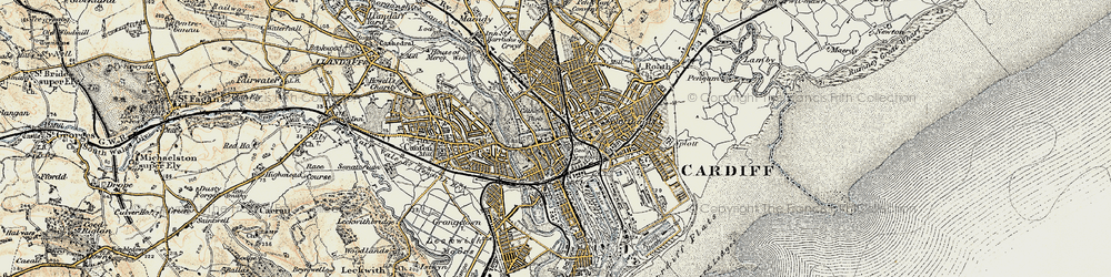 Old map of Cardiff in 1899-1900