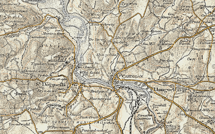 Old map of Cardigan in 1901