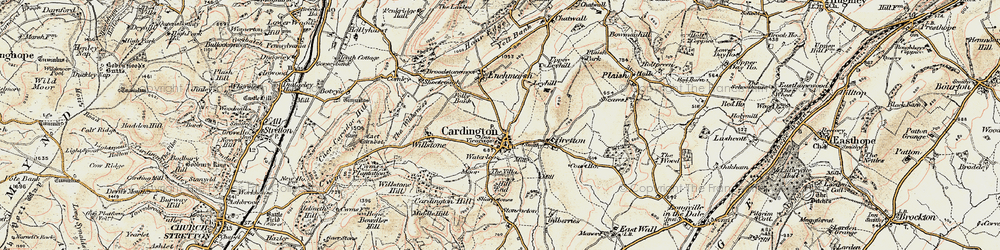 Old map of Cardington in 1902