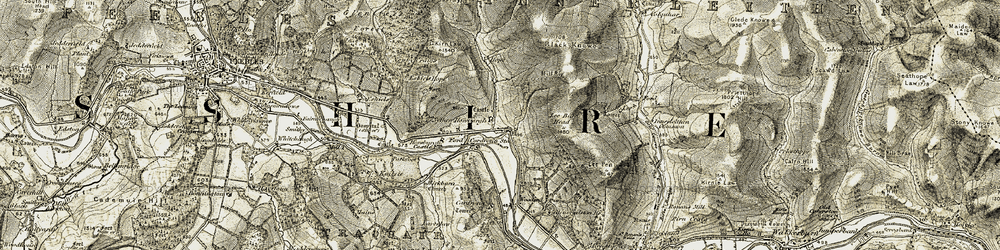 Old map of Lee Burn Head in 1903-1904
