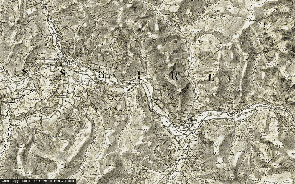 Old Map of Historic Map covering Lee Pen in 1903-1904