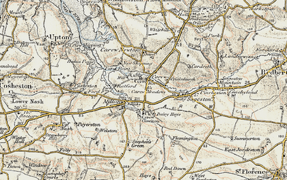 Old map of Carew in 1901-1912