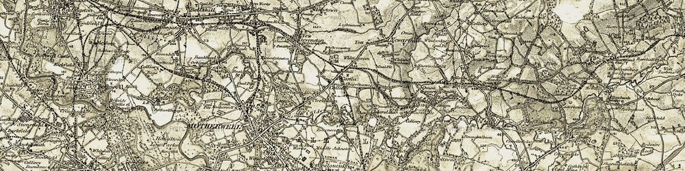 Old map of Carfin in 1904-1905