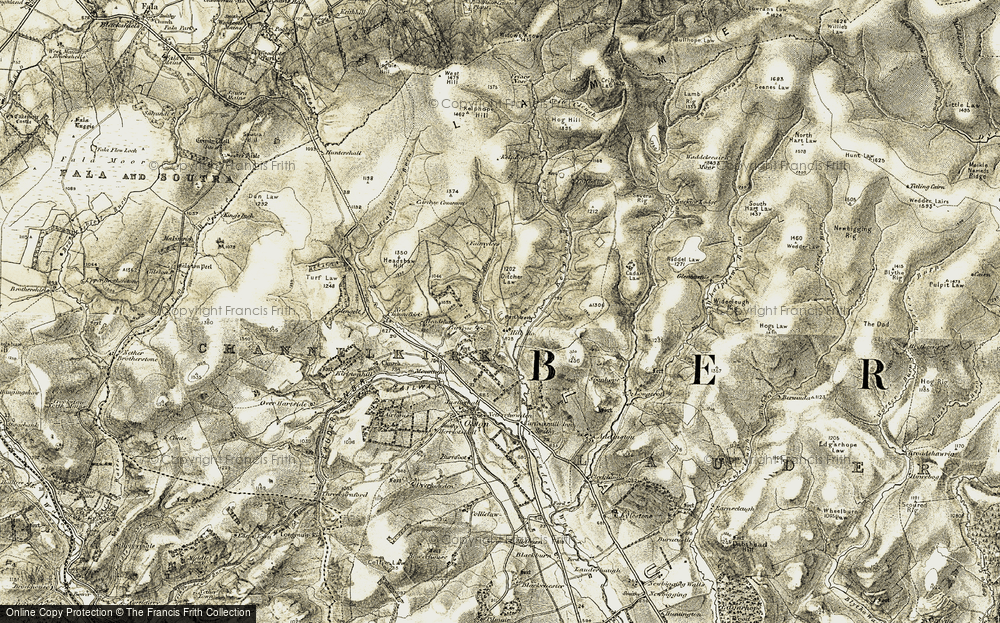 Old Map of Historic Map covering Addinston Hill in 1903-1904