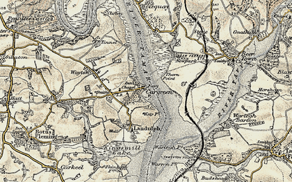 Old map of Cargreen in 1899-1900