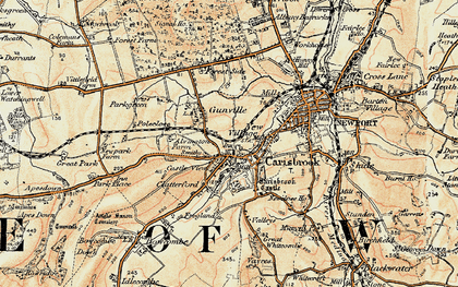 Old map of Carisbrooke in 1899-1909