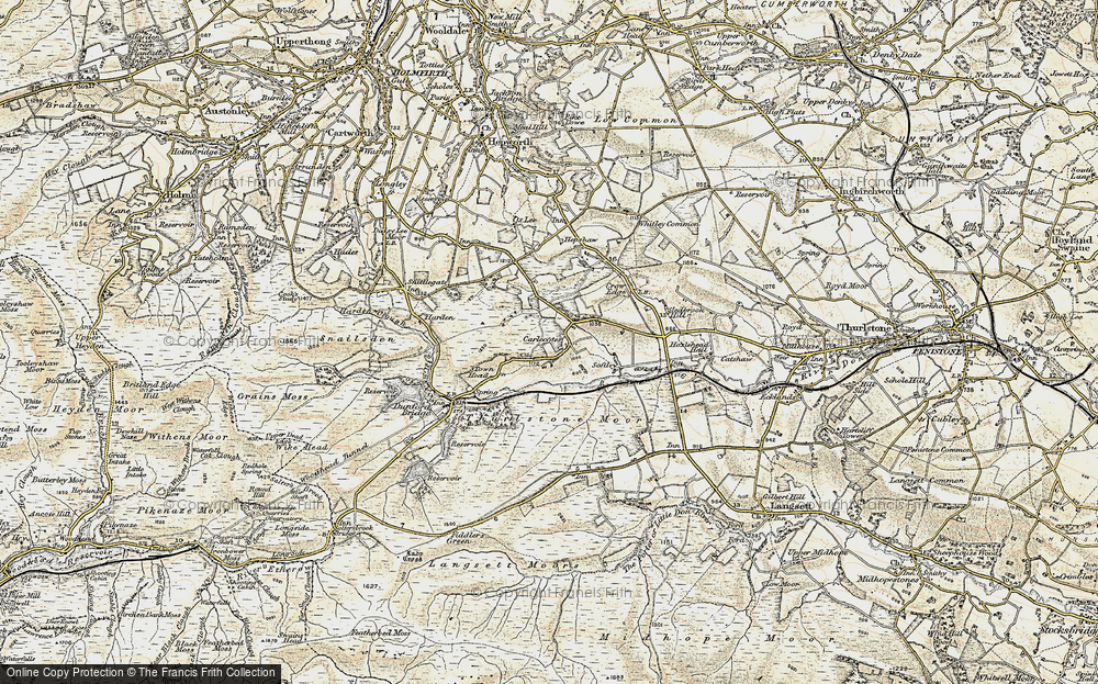Old Map of Historic Map covering Thurlstone Moors in 1903