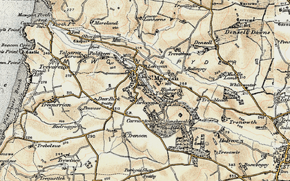 Old map of Carloggas in 1900