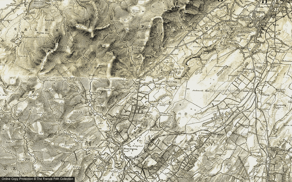 Old Map of Historic Map covering Auchencorth Moss in 1903-1904