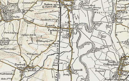 Old map of Carlton-on-Trent in 1902-1903