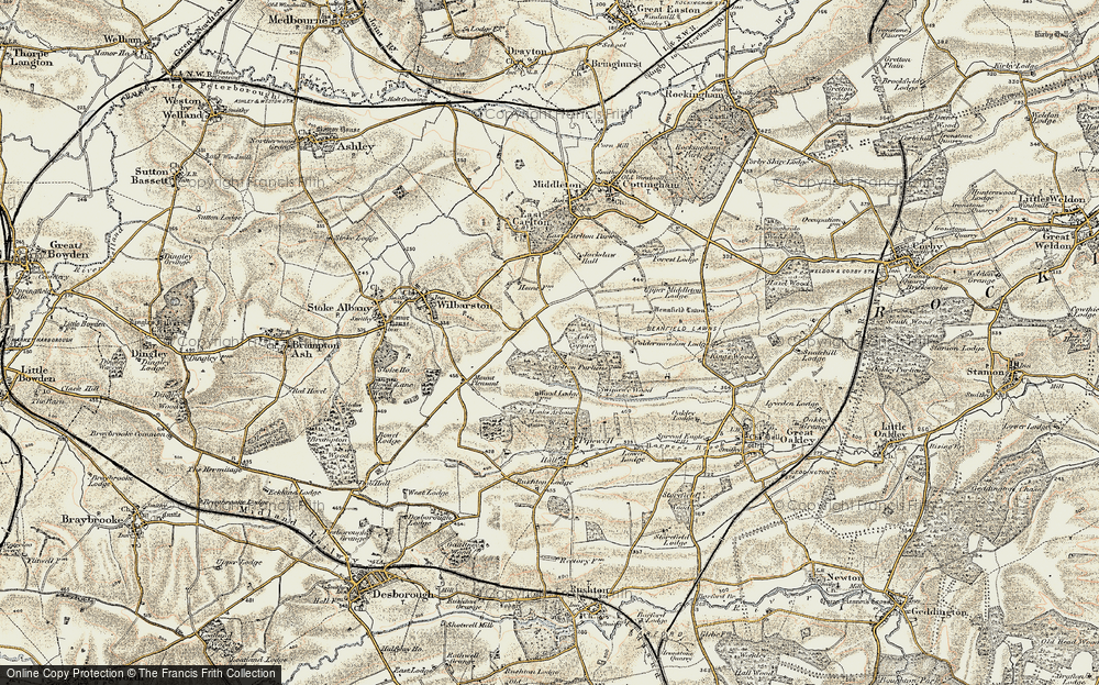 Old Map of Historic Map covering Askershaw Wood in 1901-1902