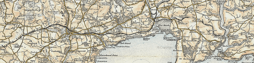 Old map of Carlyon Bay in 1900