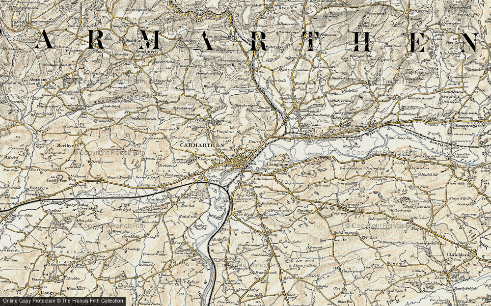 Old Map of Carmarthen, 1901 in 1901
