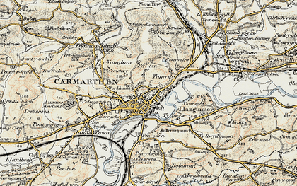 Old map of Carmarthen in 1901