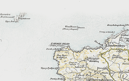 Old map of Ynys y Fydlyn in 1910