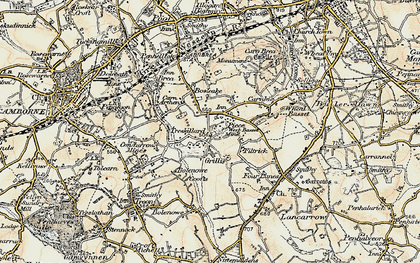Old map of Carn Arthen in 1900
