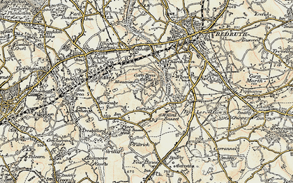 Old map of Carn Brea in 1900