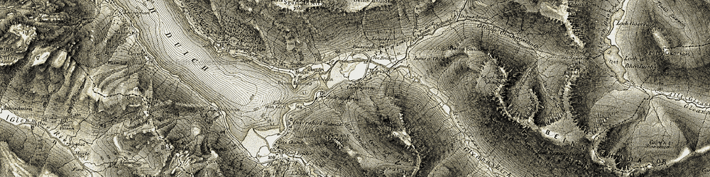 Old map of Tigh-a'-mholain in 1908-1909