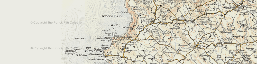 Old map of Whitesand Bay in 1900
