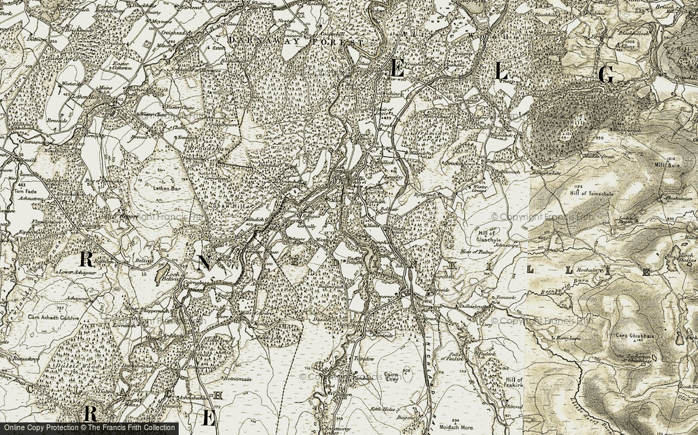 Old Map of Historic Map covering Balvlair in 1910-1911