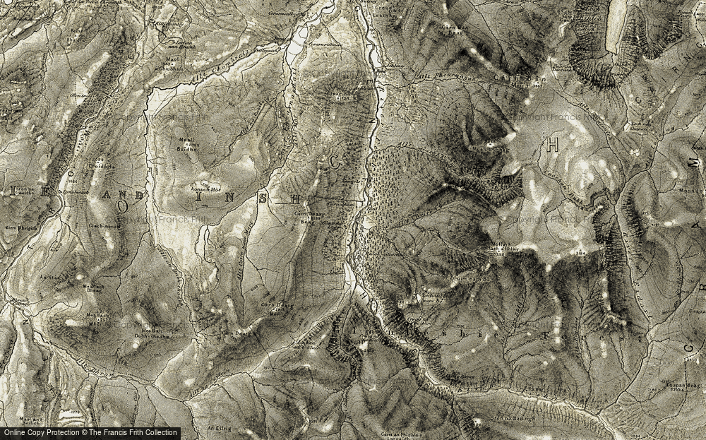 Old Map of Historic Map covering Allt Coire nam Mart in 1908