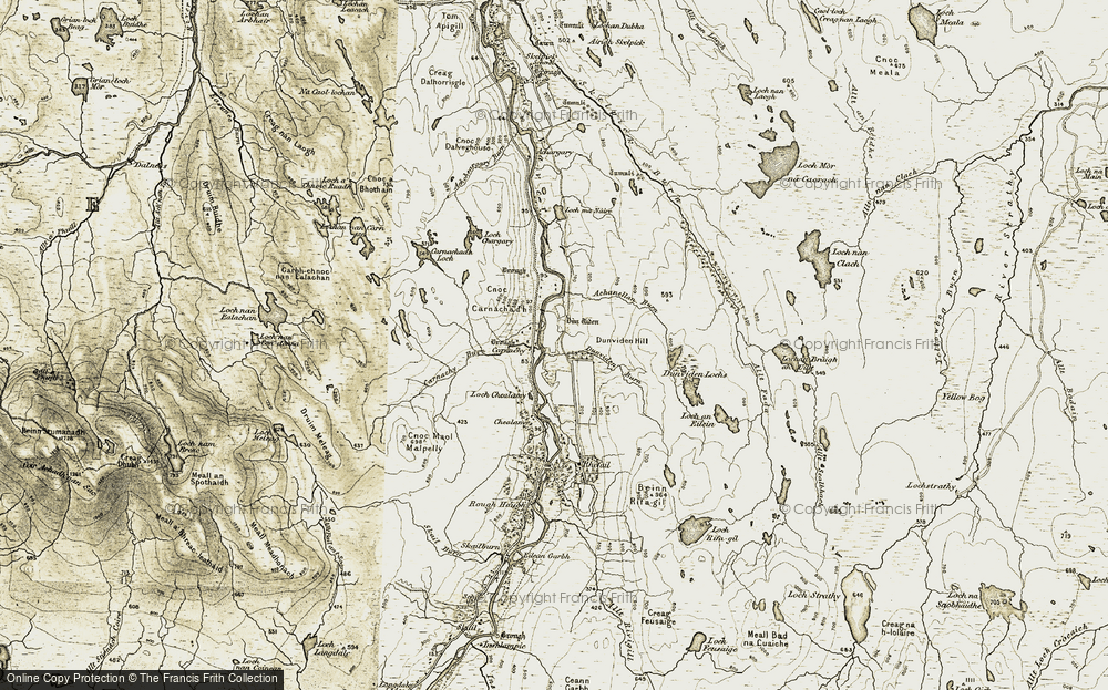 Old Map of Historic Map covering Achanellan Burn in 1910-1912