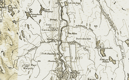 Old map of Achanellan Burn in 1910-1912