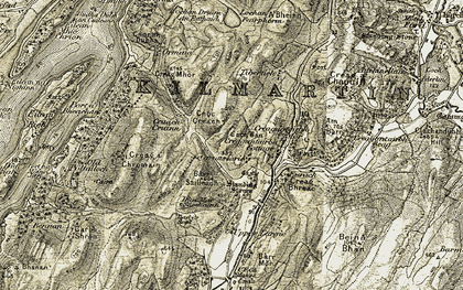 Old map of Tibertich in 1906-1907