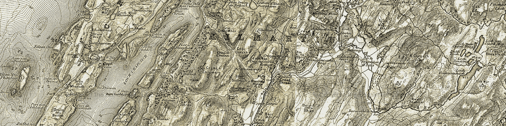 Old map of Am Bàrr in 1906-1907