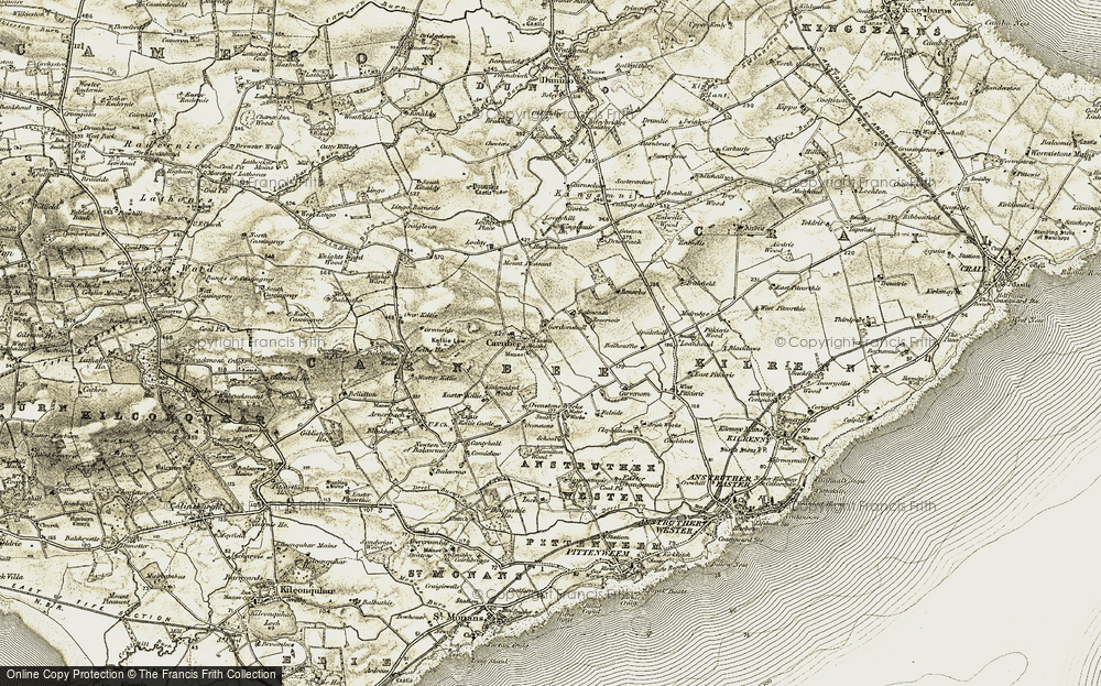 Old Map of Historic Map covering Balmonth in 1906-1908