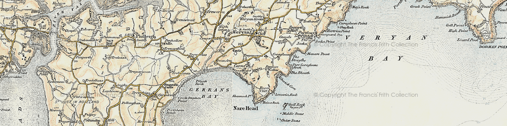 Old map of Carne in 1900