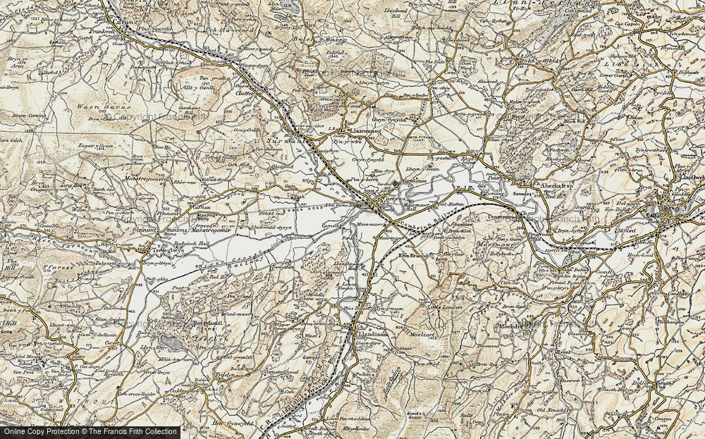 Old Map of Historic Map covering Afon Carno in 1902-1903