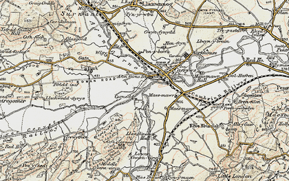 Old map of Afon Carno in 1902-1903