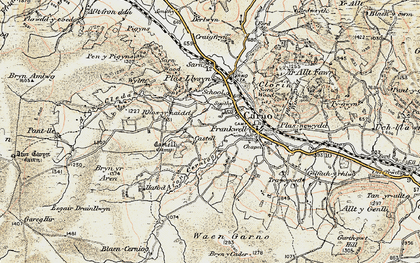 Old map of Afon Cerniog in 1902-1903