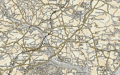 Old map of Carnon Downs in 1900