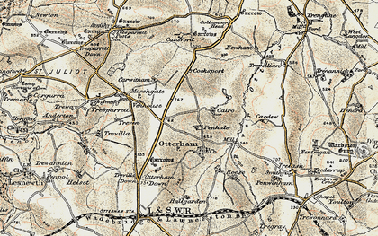 Old map of Caroe in 1900