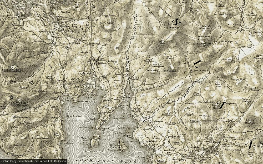 Old Map of Historic Map covering Abhainn Bhaile Mheadhonaich in 1908-1909
