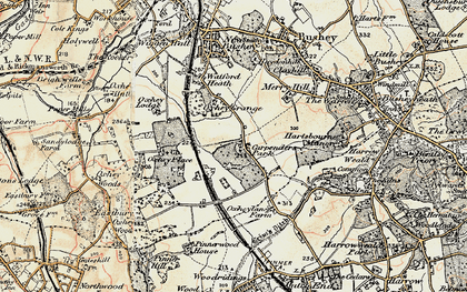 Old map of Carpenders Park in 1897-1898