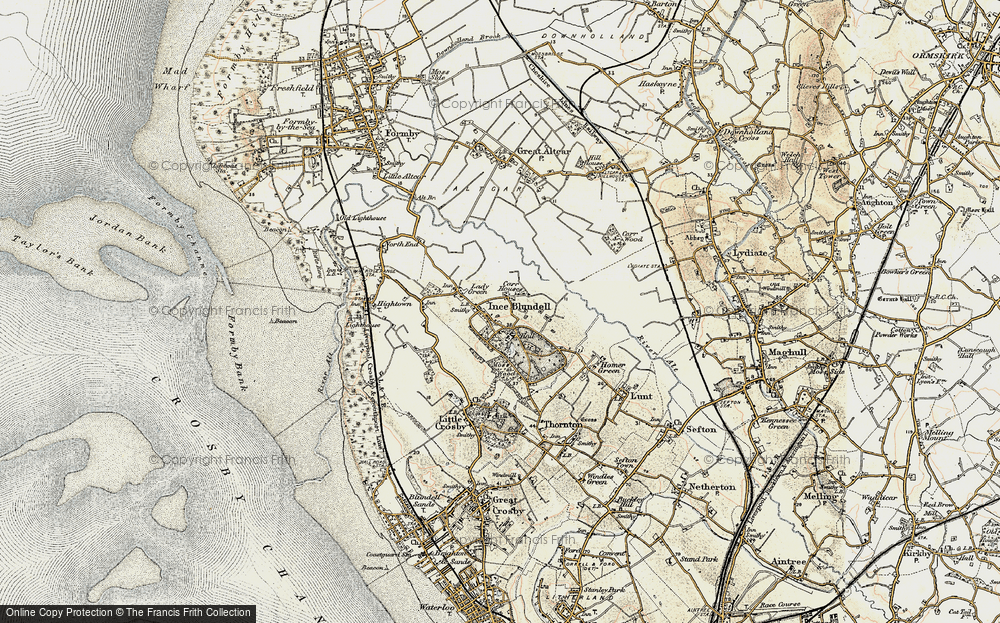 Old Map of Historic Map covering Baines Bridge in 1902-1903