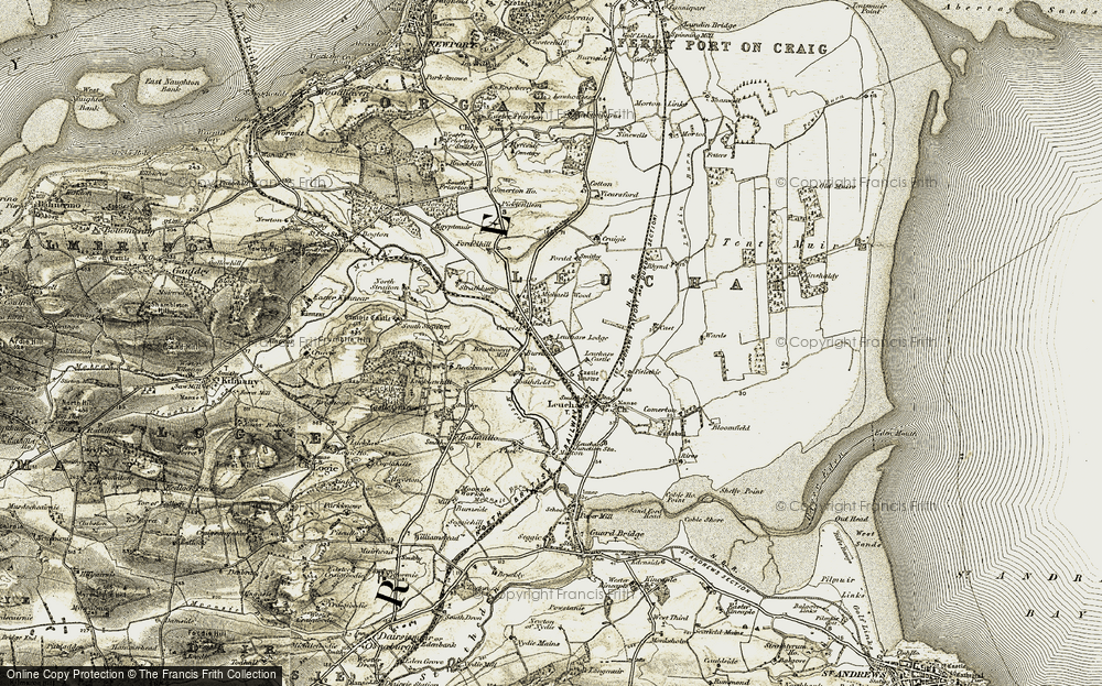 Old Map of Historic Map covering Leuchars Lodge in 1906-1908