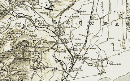 Old map of Leuchars Lodge in 1906-1908