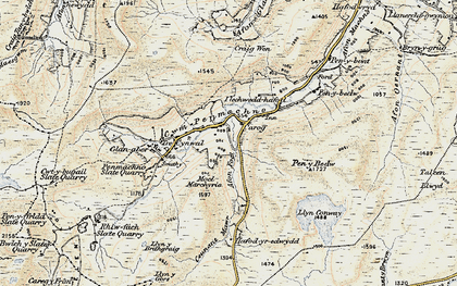 Old map of Afon Glasgwm in 1902-1903