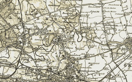 Old map of Carron in 1904-1907