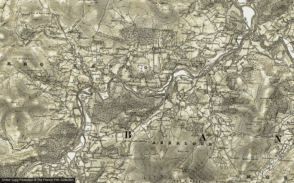 Old Map of Historic Map covering Balliemullich in 1908-1911