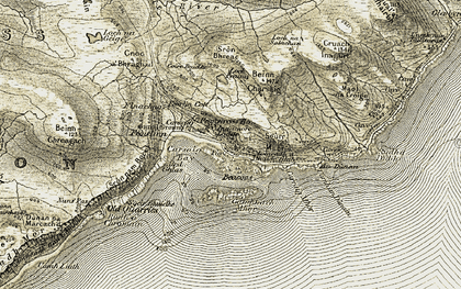 Old map of Àird Ghlas in 1906-1907