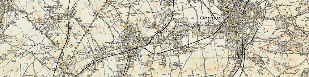 Old map of Carshalton in 1897-1909