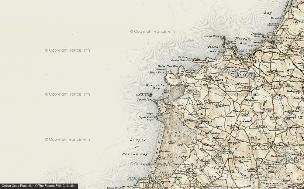 Old Map of Historic Map covering Ligger Point in 1900